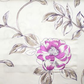 Couture - Viola - Viola purple flowers on white fabric