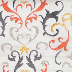 Daiquiri - Amber - Amber orange heraldry pattern on white fabric