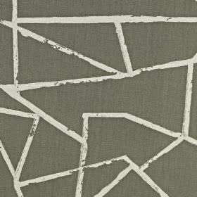 Smash - Grey - Jagged white lines creating an abstract pattern on battleship grey coloured 100% cotton fabric