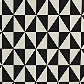 Zodiac - Jet - A geometric diamond made up of triangles printed on 100% cotton fabric in a monochrome black and white design