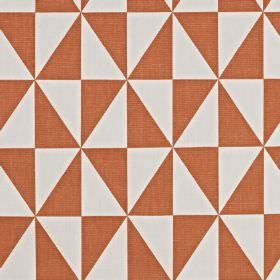 Zodiac - Tangerine - Terracotta and off-white 100% cotton fabric featuring a geometric pattern made up of tesselated diamonds and triangles