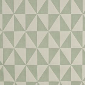 Zodiac - Aqua - Very pale grey and light blue-grey triangles formed into a geometric diamond pattern on fabric made from 100% cotton