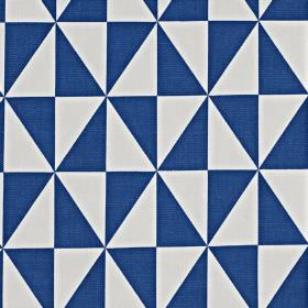 Zodiac - Cobalt - 100% cotton fabric printed with triangles formed into a geometric diamond print in vibrant Royal blue and pale white-grey