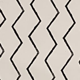 Zig - Jet - Random zigzagging black lines running unevenly down 100% cotton fabric in a very pale shade of grey