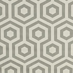 Hex - Stone - Simple hexagons and geometric patterns printed on 100% cotton fabric in two different light shades of grey