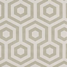 Hex - Linen - Two different light shades of grey making up a simple pattern of hexagons and geometric shapes on 100% cotton fabric