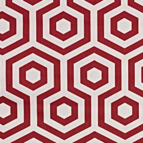 Hex - Flame - Fabric made from 100% cotton fabric printed with white and burgundy coloured hexagons and geometric patterns