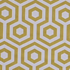 Hex - Saffron - Light gold and very pale silvery grey coloured fabric made from 100% cotton, printed with a geometric pattern and hexagons