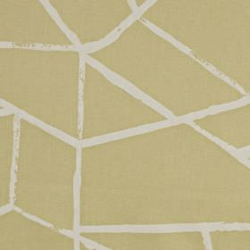 Smash - Soda - Cream and white coloured 100% cotton fabric printed with jagged lines, creating an abstract geometric pattern