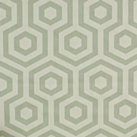 Hex - Aqua - 100% cotton fabric printed with hexagons and geometric patterns in two different pale shades of grey