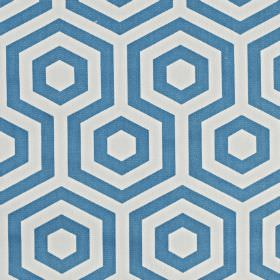Hex - Azure - Hexagons and geometric shapes printed in cobalt blue and white on fabric made from 100% cotton