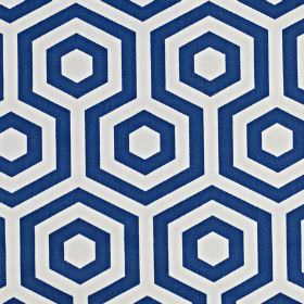 Hex - Cobalt - Fabric made from hexagon and geometric print patterned 100% cotton in navy blue and white