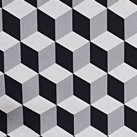 Cube - Jet - 3D effect cube patterns printed on 100% cotton fabric in three different dark and light shades of grey