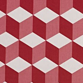 Cube - Flame - Cherry, dusky pink and white coloured 100% cotton fabric printed with a geometric design of 3D effect cubes