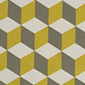 Cube - Saffron - 100% cotton fabric made in gold, graphite grey and pale grey-white, featuring a 3D effect geometric cube design