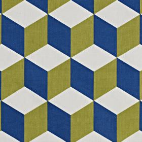 Cube - Cobalt - Navy blue, khaki and white coloured 3D effect geometric cube designs printed on fabric made from 100% cotton