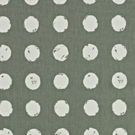 Zero - Flint - Slightly roughly printed white polka dots arranged in rows over a dark grey 100% cotton fabric background