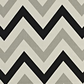 Jazz - Jet - Black, steel grey and icy grey coloured zigzag lines running across 100% cotton fabric