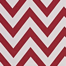 Jazz - Flame - Off-white and burgundy coloured 100% cotton fabric printed with a simple, striking horizontal zigzag stripe pattern