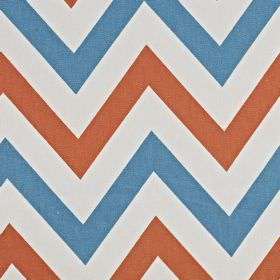 Jazz - Tangerine - 100% cotton fabric made with a horizontal zigzag pattern in very pale grey-white, aqua blue and light red