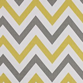 Jazz - Saffron - Fabric made from zigzag patterned 100% cotton, with a horizontal design in off-white, grey and gold