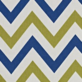 Jazz - Cobalt - Fabric made from 100% cotton, featuring a horizontal zigzag pattern in off-white, navy blue and khaki