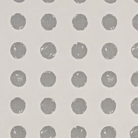 Pop - Stone - Roughly printed polka dots on fabric made from 100% cotton, with a steel grey design on a lighter silver-grey background