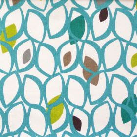 Cedar - Teal - Teal leaf grid on white fabric