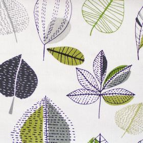 Maple - Lime - Abstract lime green leaf motif on white fabric