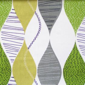 Alderley - Lime - Abstract lime green wave stripes on white fabric