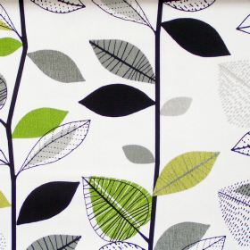 Autumn Leaves - Lime - Abstract lime green leaf motif on white fabric