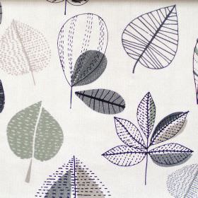 Maple - Linen - Abstract blue leaf motif on white fabric