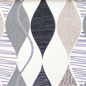 Alderley - Linen - Abstract black/blue wave stripes on white fabric