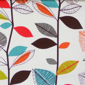 Autumn Leaves - Cinnamon - Abstract purple leaf motif on white fabric