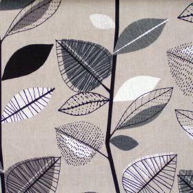 Autumn Leaves - Sable - Abstract black leaf motif on sandy fabric