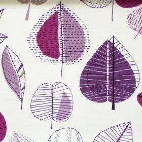 Maple - Damson - Abstract damson pruple leaf motif on white fabric