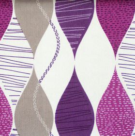 Alderley - Damson - Abstract damson pruple wave stripes on white fabric