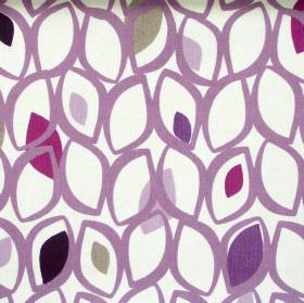 Cedar - Damson - Damson pruple leaf grid on white fabric