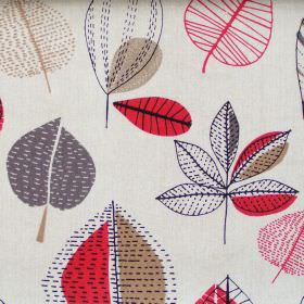Maple - Red Berry - Abstract red berry leaf motif on white fabric