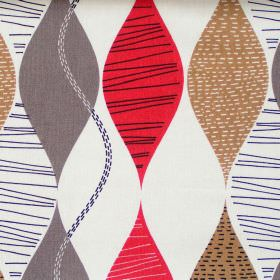 Alderley - Red Berry - Abstract red berry wave stripes on white fabric
