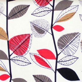 Autumn Leaves - Red Berry - Abstract red berry leaf motif on white fabric