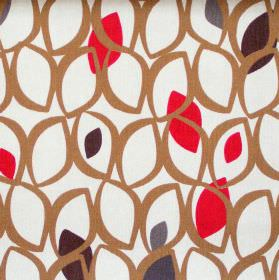 Cedar - Red Berry - Brown leaf grid on white fabric