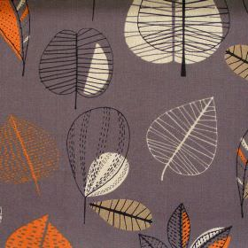 Maple - Russet - Abstract orange leaf motif on brown/grey fabric
