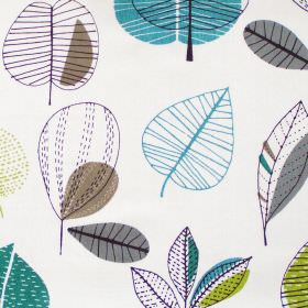 Maple - Teal - Abstract teal leaf motif on white fabric