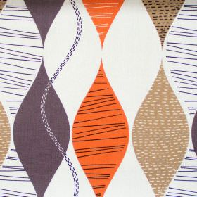 Alderley - Amber - Abstract amber orange wave stripes on white fabric