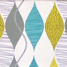 Alderley - Teal - Abstract teal wave stripes on white fabric