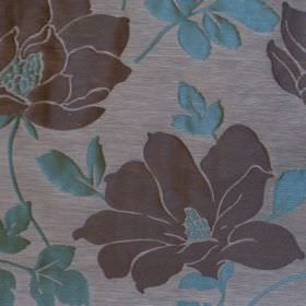 Bellissima  - Aqus - Turqoise flower and foliage impressions on light grey fabric
