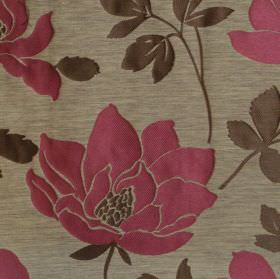 Bellissima  - Mulberry - Mulberry red flower and foliage impressions on light grey fabric