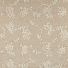 Honiton - Oatmeal - Fabric blended from cotton, linen, viscose and polyester in cement grey, printed with pale grey leaves and wavy lines