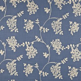 Honiton - Coastal - Navy and off-white coloured cotton, linen, viscose and polyester blend fabric, with a simple leaf and wavy line design